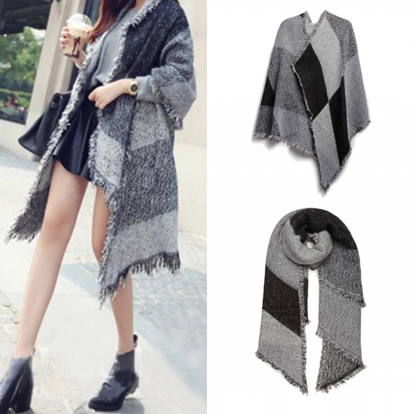 S6427 - Women Ladies Fashion Plaid Scarf Blanket Winter Warm Wrap Shawl - Black