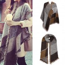 S6427 - Manta de bufanda a cuadros de moda para mujer, mantón abrigado de invierno - Café