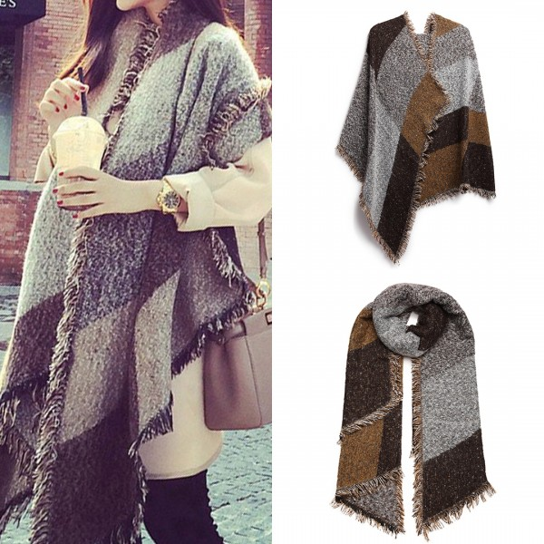 S6427 - Women Ladies Fashion Plaid Scarf Blanket Winter Warm Wrap Shawl - Coffee