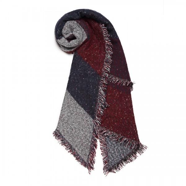 S6427 - Women Ladies Fashion Plaid Scarf Blanket Winter Warm Wrap Shawl - Red