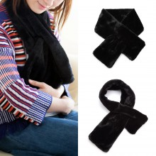 S6428 - Stylish Faux Fur Collar Warm Plush Scarf - Black