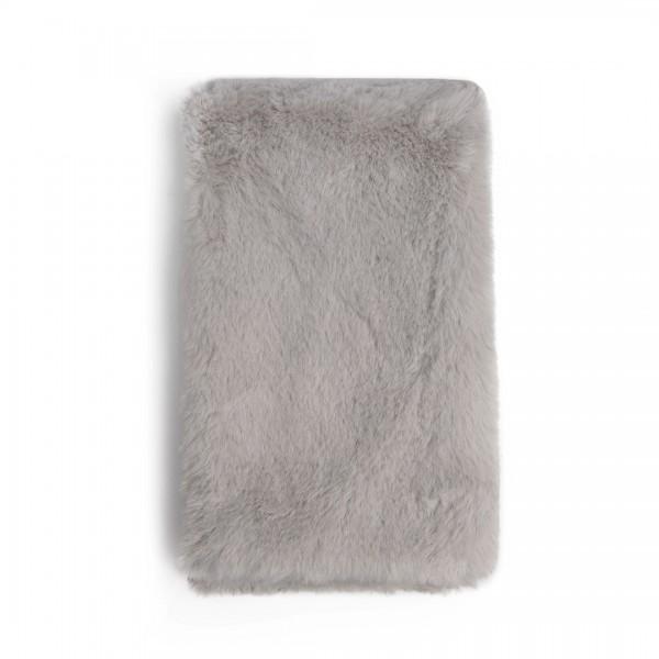 S6428 - Stylish Faux Fur Collar Warm Plush Scarf - Grey