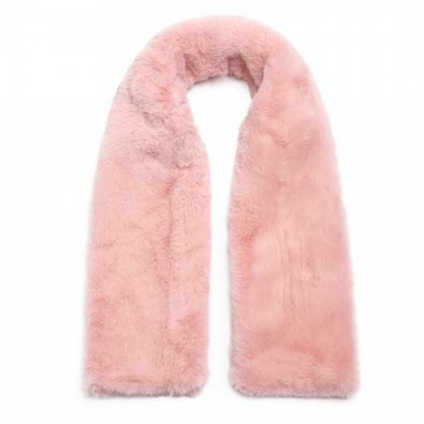 S6428 - Stylish Faux Fur Collar Warm Plush Scarf - Pink