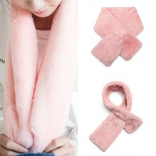 S6428 - Stylish Faux Fur Collar Warm Plush Scarf - Pink