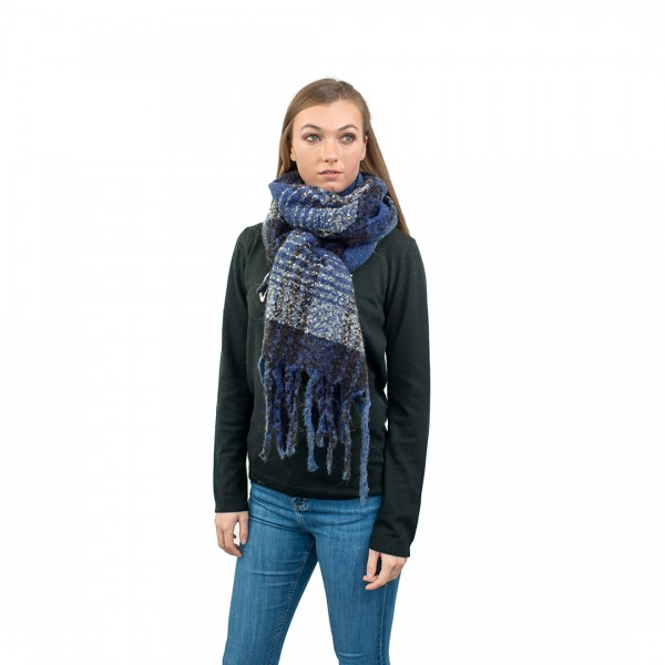 S6429 - Stylish Soft Warm Wrap Check Print Shawl Scarf - Blue