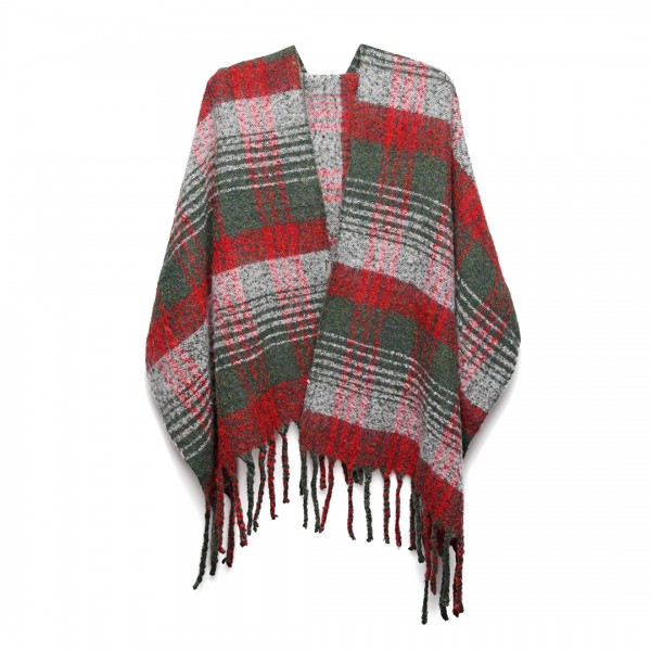 S6429 - Stylish Soft Warm Wrap Check Print Shawl Scarf - Red