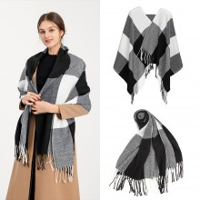 S6430 - Women Fashion Long Shawl Grid Tassel Winter Warm Lattice Large Scarf - Black
