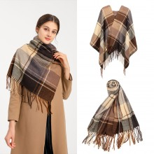 S6430 - Women Fashion Long Shawl Grid Tassel Winter Warm Lattice Large Scarf - Brown