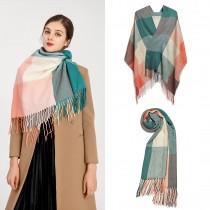 S6430 - Kobiety Moda Długi szal Grid Tassel Zimowy ciepły duży szalik w kratę - Zielony