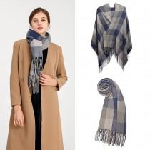 S6430 - Kobiety Moda Długi szal Grid Tassel Zimowy ciepły duży szalik w kratę - szary