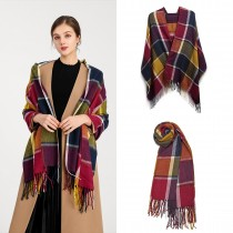 S6430 - Kobiety Moda Długi szal Grid Tassel Zimowy ciepły duży szalik w kratę - Fioletowy