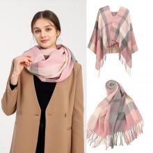 S6430 - Women Fashion Long Shawl Grid Tassel Winter Warm Lattice Large Scarf - Pink