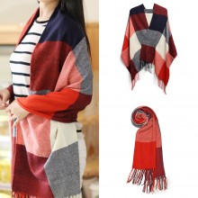 S6430 - Women Ladies Fashion Long Shawl Grid Tassel Winter Warm Lattice Large Scarf - Red