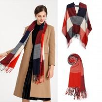 S6430 - Kobiety Moda Długi szal Grid Tassel Zimowy ciepły duży szalik w kratę - czerwony