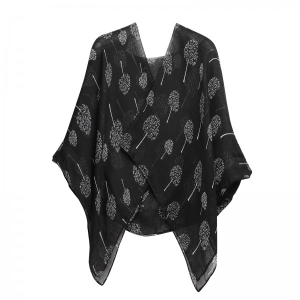 S6432 - Miss Lulu Simple Lightweight Chiffon Print Scarf - Black