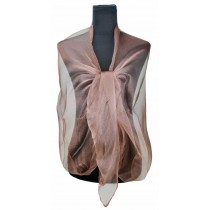 ZQ-001 - Bufanda transparente de mujer de moda de mujer con mantón largo y brillo de noche - Marrón