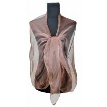 ZQ-001: Femei Modă lungă Shawl Shimmer Seara Wrap Sheer Scarf --Brown