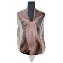 ZQ-001 - Women Ladies Fashion Long Shawl Shimmer Evening Wrap Sheer Scarf - Brown
