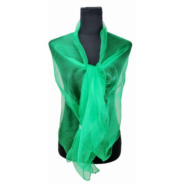 ZQ-001 - Women Ladies Fashion Long Shawl Shimmer Evening Wrap Sheer Scarf - Green