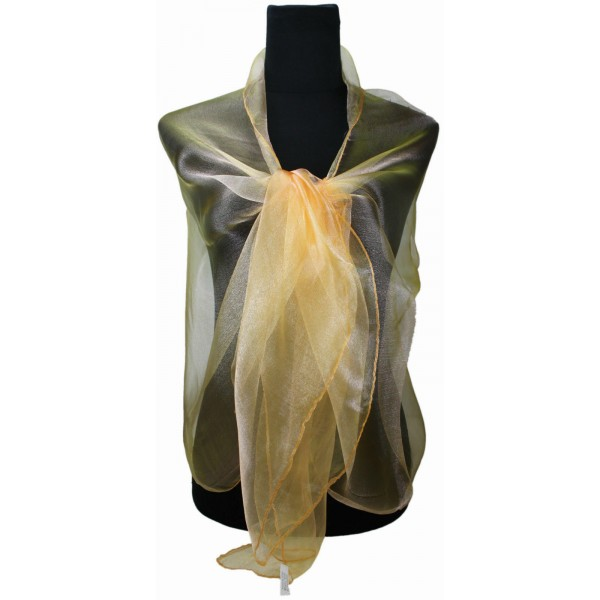 ZQ-001 - Women Ladies Fashion Long Shawl Shimmer Evening Wrap Sheer Scarf - Orange