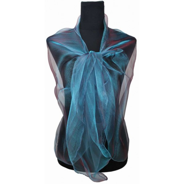 ZQ-001 - Women Ladies Fashion Long Shawl Shimmer Evening Wrap Sheer Scarf - Slate Blue
