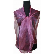 ZQ-001 - Dame Fashion Long Shawl Shimmer Evening Wrap Sheer Scarf - Wine Red