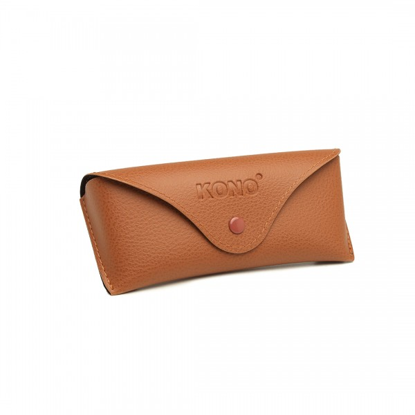 G4041 - Kono Leather Look Soft Sunglasses Case - Brown