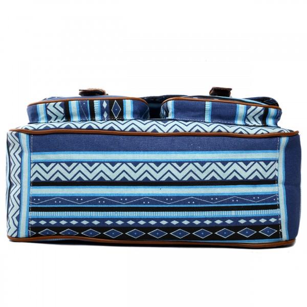 X1157A - Miss Lulu Canvas Large Satchel Aztec Blue