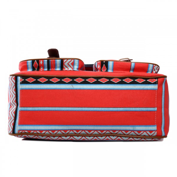 X1157A - Miss Lulu Canvas Large Satchel Aztec Red