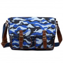 X1157C - Miss Lulu Canvas Large Satchel Camouflage Blue