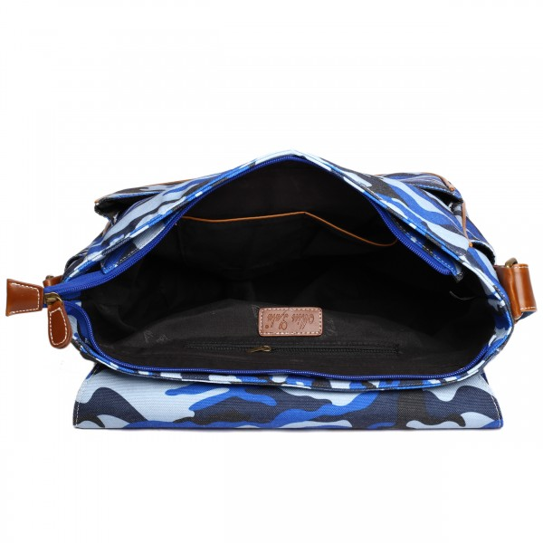X1157C - Miss Lulu Canvas Large Satchel Camouflage Blue