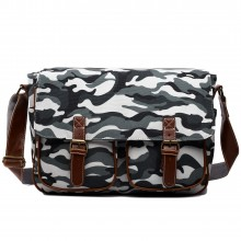 X1157C - Miss Lulu Canvas Large Satchel Camouflage Grey