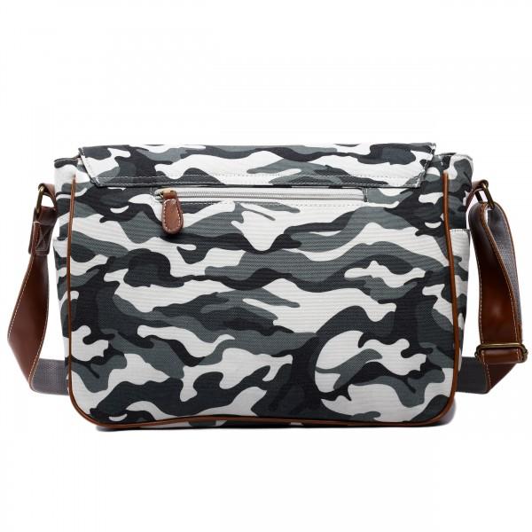 X1157C - Miss Lulu Canvas Large Satchel Camouflage Grey