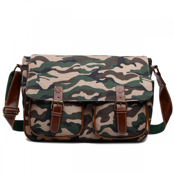 X1157C - Miss Lulu Canvas Large Satchel Camouflage Khaki