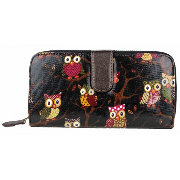 L1109W - Miss Lulu Oilcloth Purse Owl Black