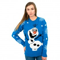 C3001 BE --Unisex Christmas Jumper with Cute Snowman Blue