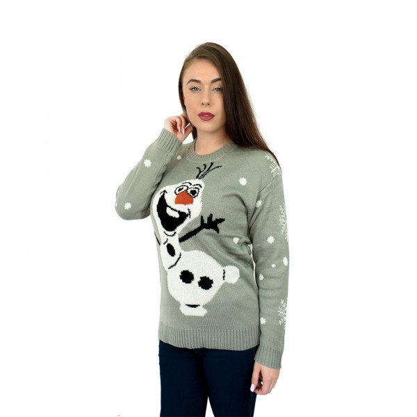 C3001 GY - Unisex Christmas Jumper With Cute Snowman Grey
