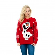 C3001 RD --Snowman --Unisex Christmas Jumper with Cute Snowman Red
