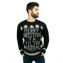 C3005 BK --Men Christmas Jumper Black