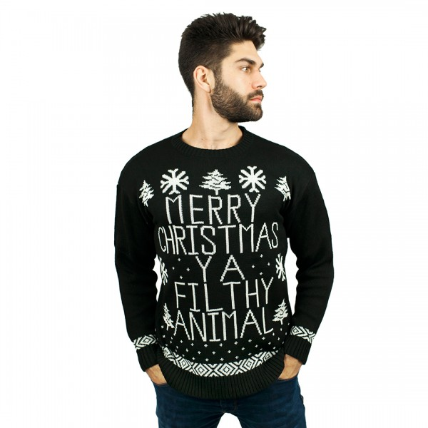 C3005 BK - Men Christmas Jumper Black