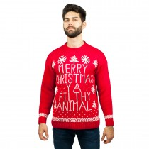 C3005 RD - Men Christmas Jumper Red