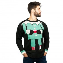 C3006 BK - Men Christmas Jumper With Elf Pattern Black