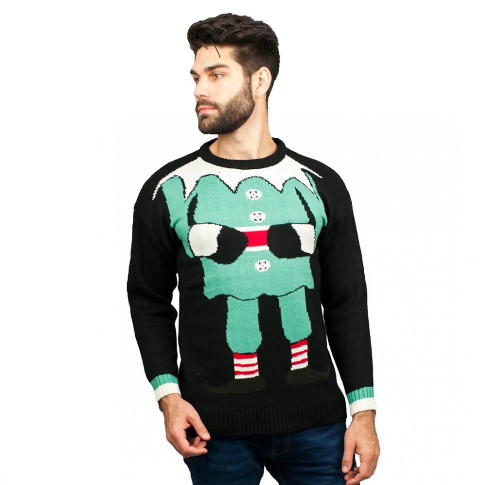 c3006 bk herren weihnachtspullover mit elfenmuster schwarz. Black Bedroom Furniture Sets. Home Design Ideas