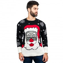 C3007 BK - Men Christmas Jumper Santa Pattern Black