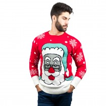 C3007 RD - Men Christmas Jumper Santa Pattern Red