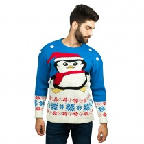 C3009 BE --Men Christmas Jumper with Pinguin Pattern Blue