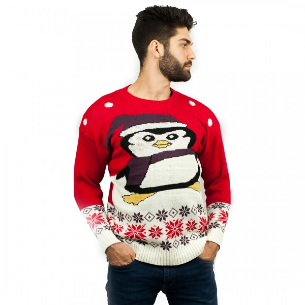 C3009 RD - Men Christmas Jumper With Penguin Pattern Red
