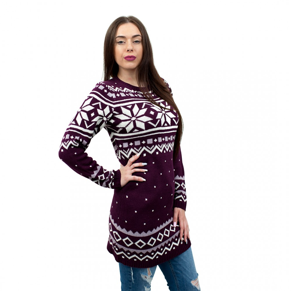 c3101 by ladies christmas jumper with snowflake pattern wine red