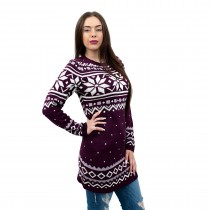 C3101 BY - Ladies Christmas Jumper With Snowflake Pattern Wine Red