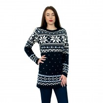 C3101 NY - Ladies Christmas Jumper With Snowflake Pattern Navy
